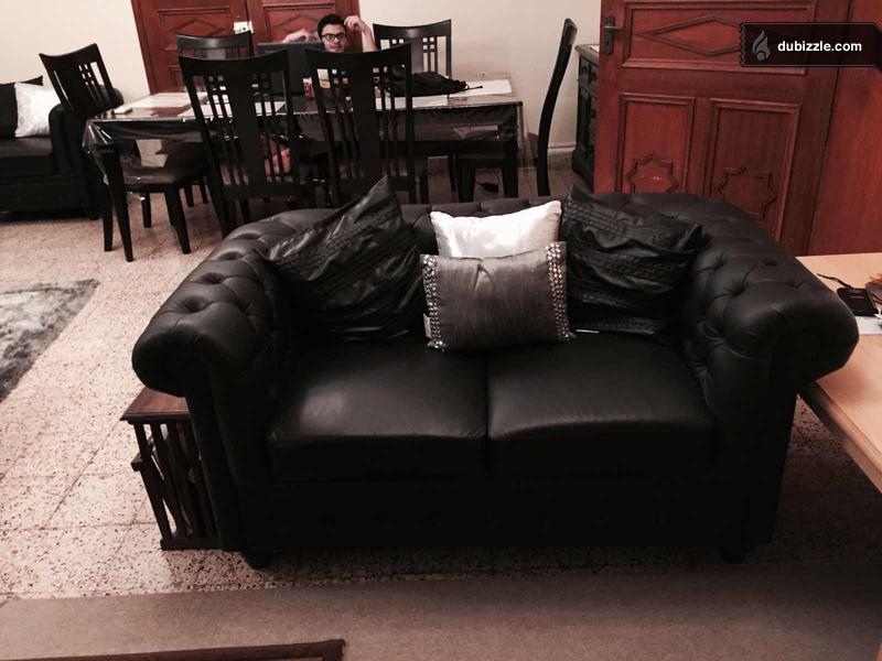 Black Leather Sofa Set 3 2 1 Black For Sale Olx Dubizzle Oman
