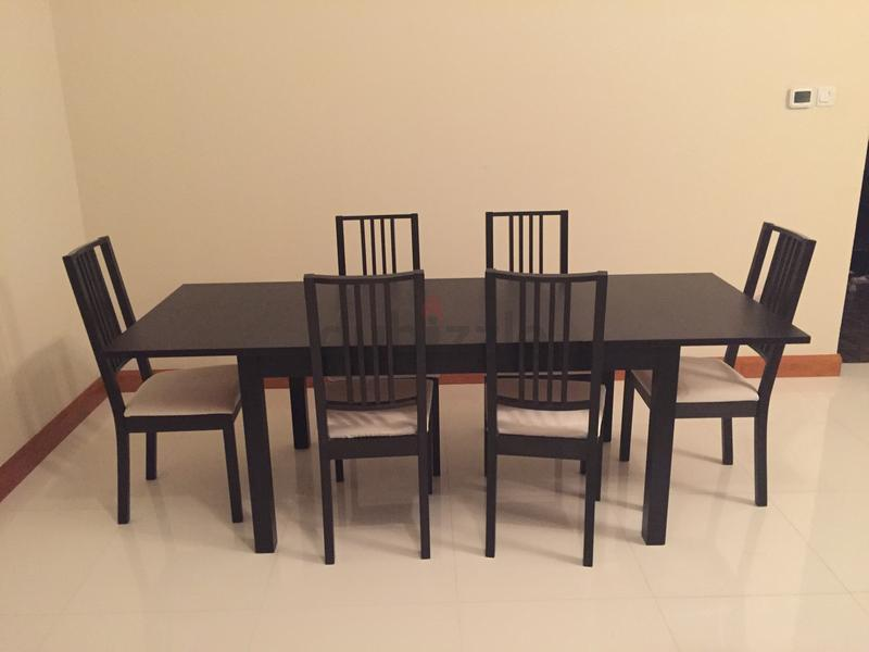 Dubizzle Dubai Dining Sets Ikea Burjsta Black Table 6 Borje Black Chairs