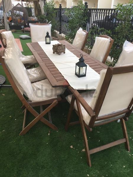 Dubizzle Dubai Garden Furniture Outdoor Dining Table Set With Sunshade