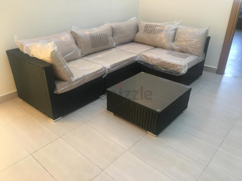 l shape very high quality rattan for villa garden used few aed 2800