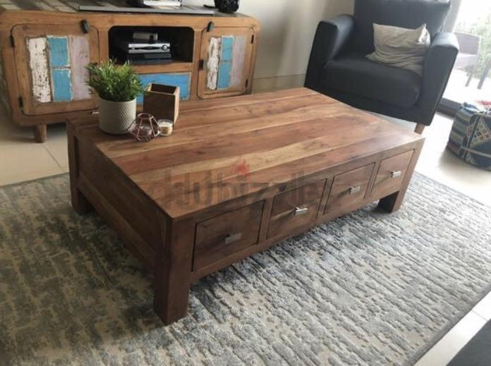Dubizzle Dubai Tables Solid Wood Coffee Table With Four Drawers