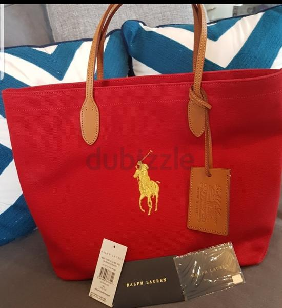 AMazing Brand new with tag Polo Ralph Lauren tote shoulder bag handbag  leather handles canvas red - AED 550 b2e5ac1353aec
